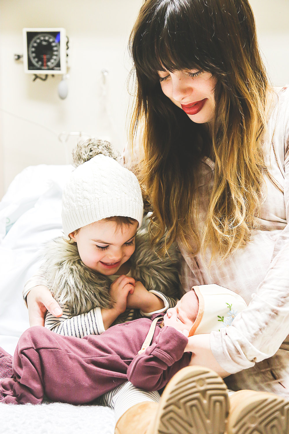 Mom and Newborn Baby with Toddler Sister in Hospital Photo Shoot