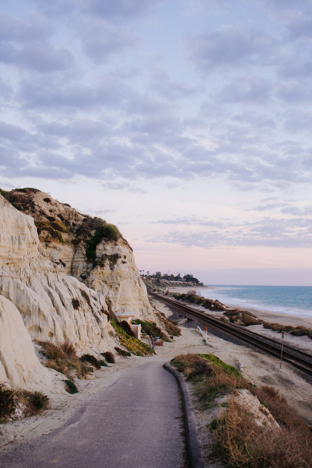 Cliffs and Train Tracks at San Clemente State Beach at Dusk