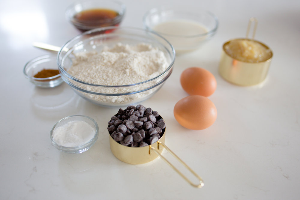 Eggs, Chocolate Chip, Flour, Ingredients for Healthy Muffins