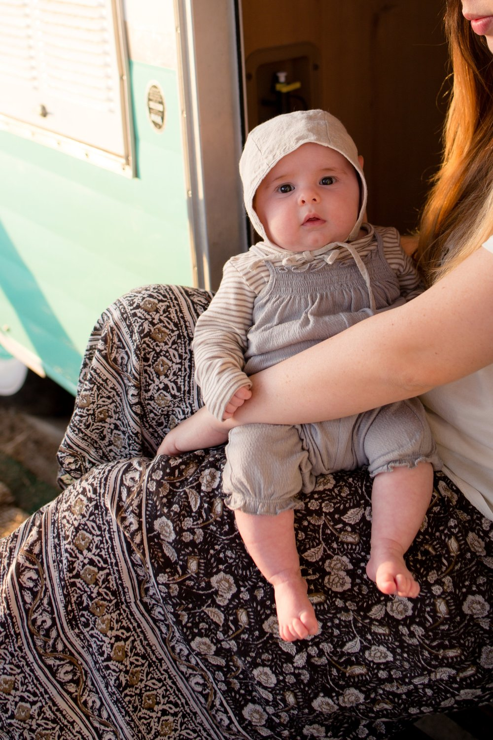 Newborn Camping In Shasta Airflyte at the Holiday's Camground in San Clemente State Beach