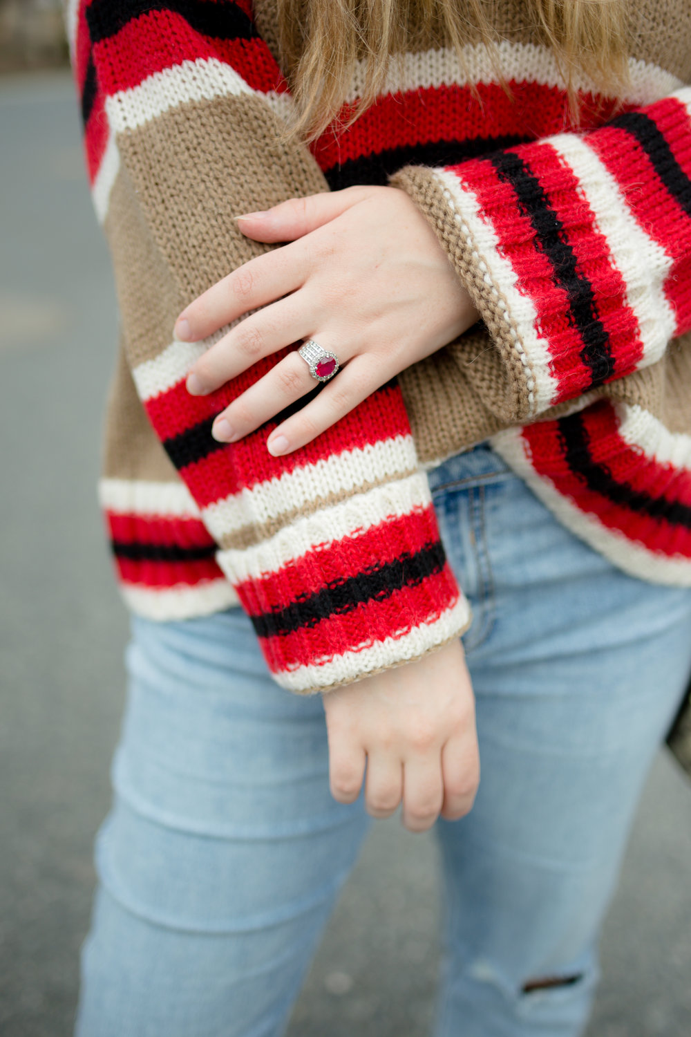 Girl in UO Oversized Striped Boyfriend Sweater and Old Navy Perfect Straight Jeans