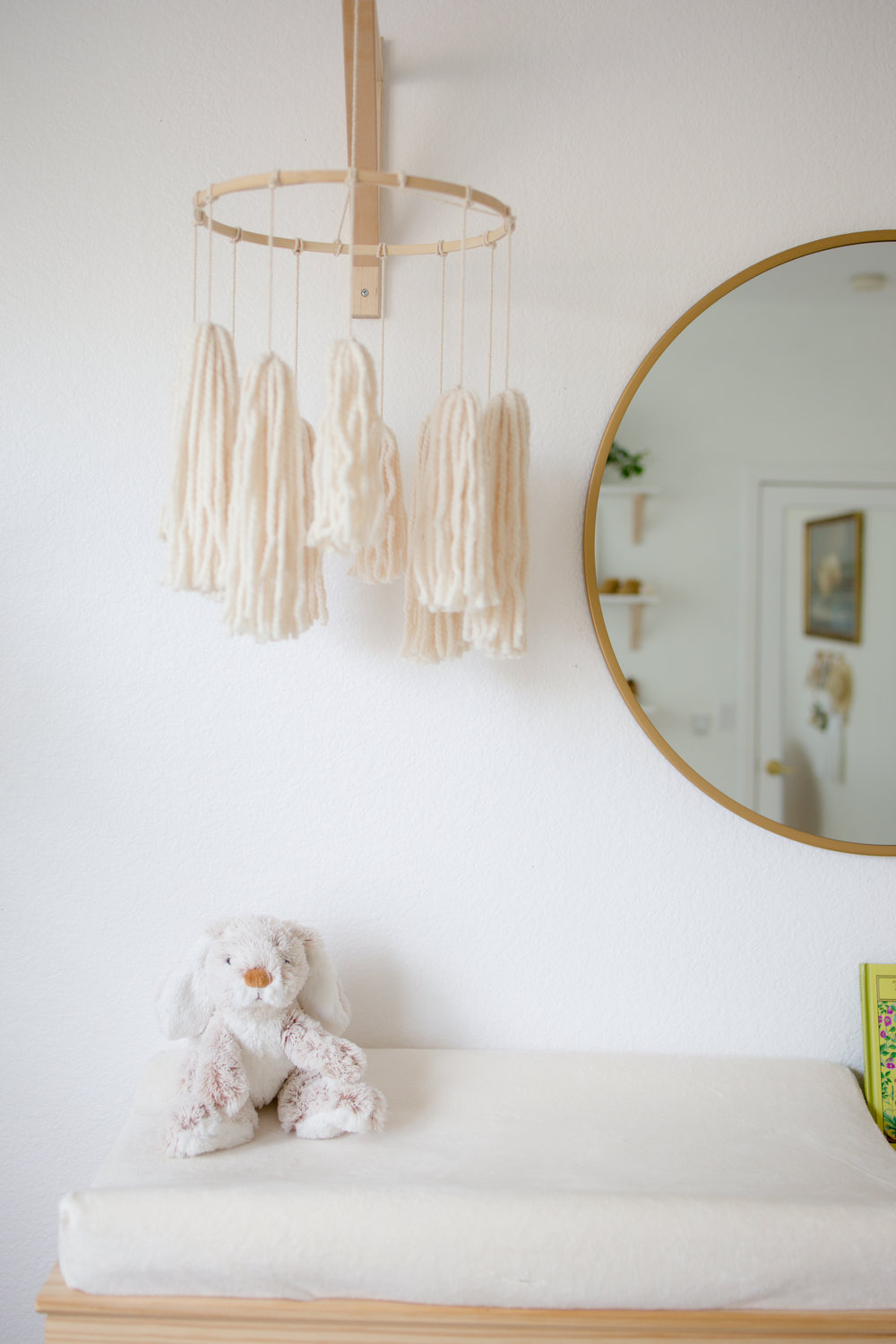 DIY boho tassel mobile for gender neutral minimalist nursery