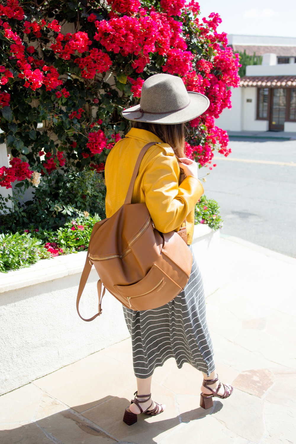 Streetstyle fashion of a millenial mama wearing yellow Zara motto jacket, dwell & slumber dress, brixton hat, and fawn design backpack
