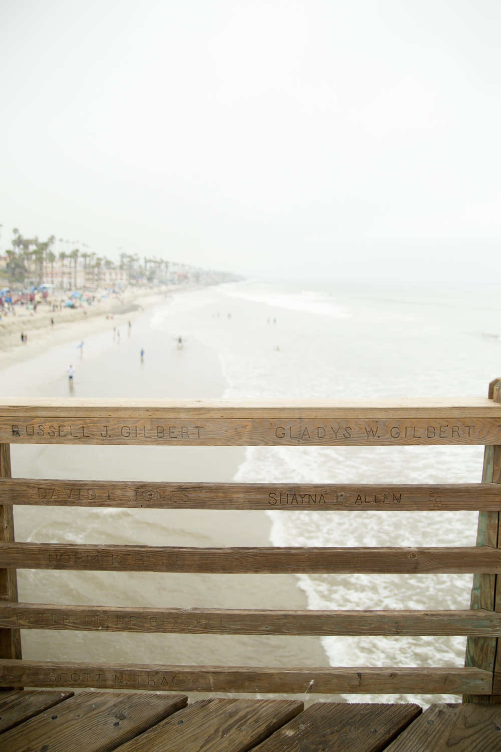 Foggy capture of the beach, taken from the pier in oceanside California