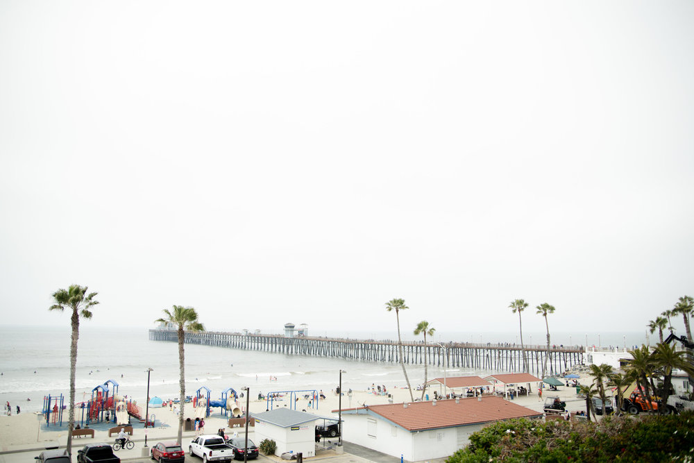 Photo of Oceanside pier on foggy morning