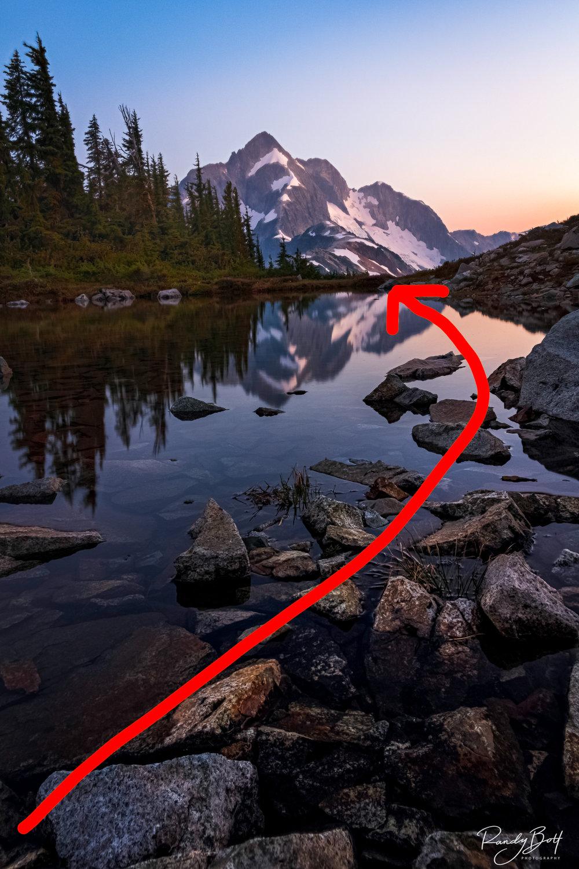 Using rocks as a leading line.
