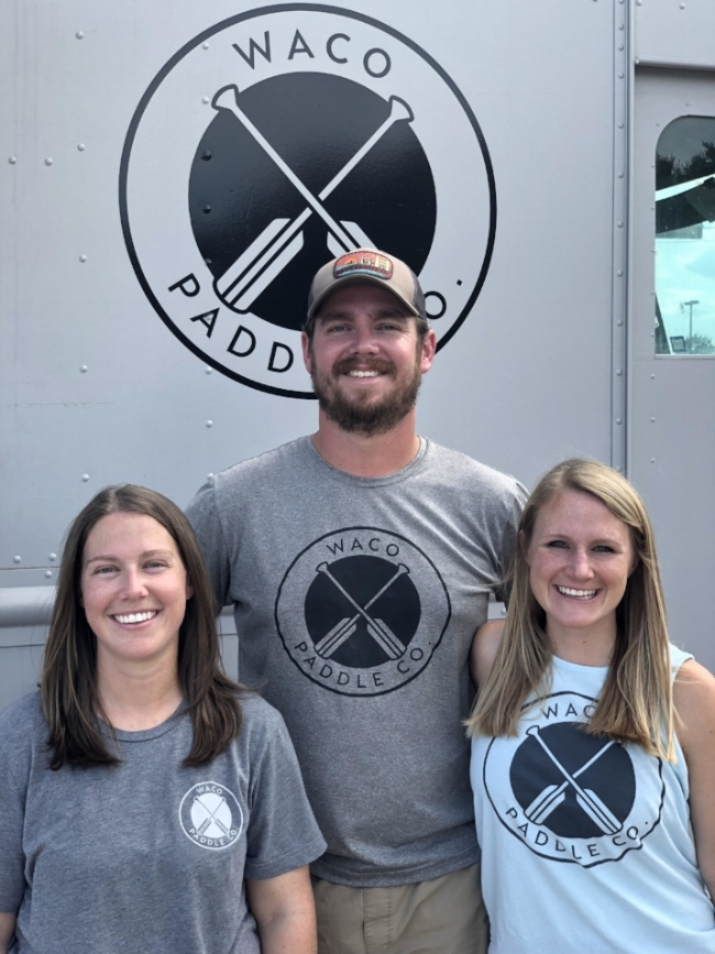 Owners of Waco Paddle Company, (L-R) Sarah Raley, Ross and Beth Harris