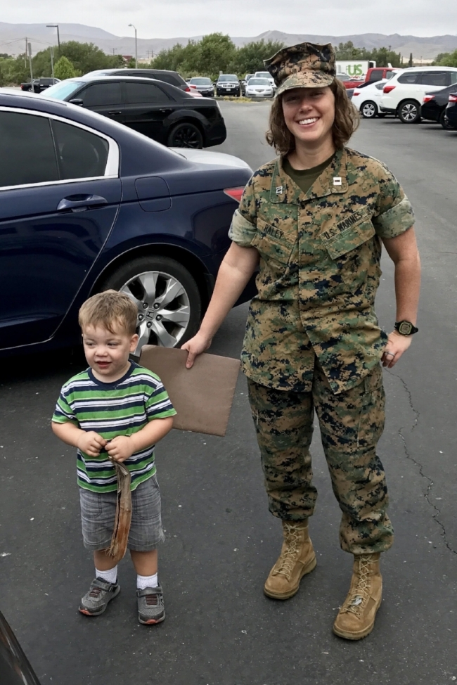 Sarah and one of her sons, on the last day of her official military service.
