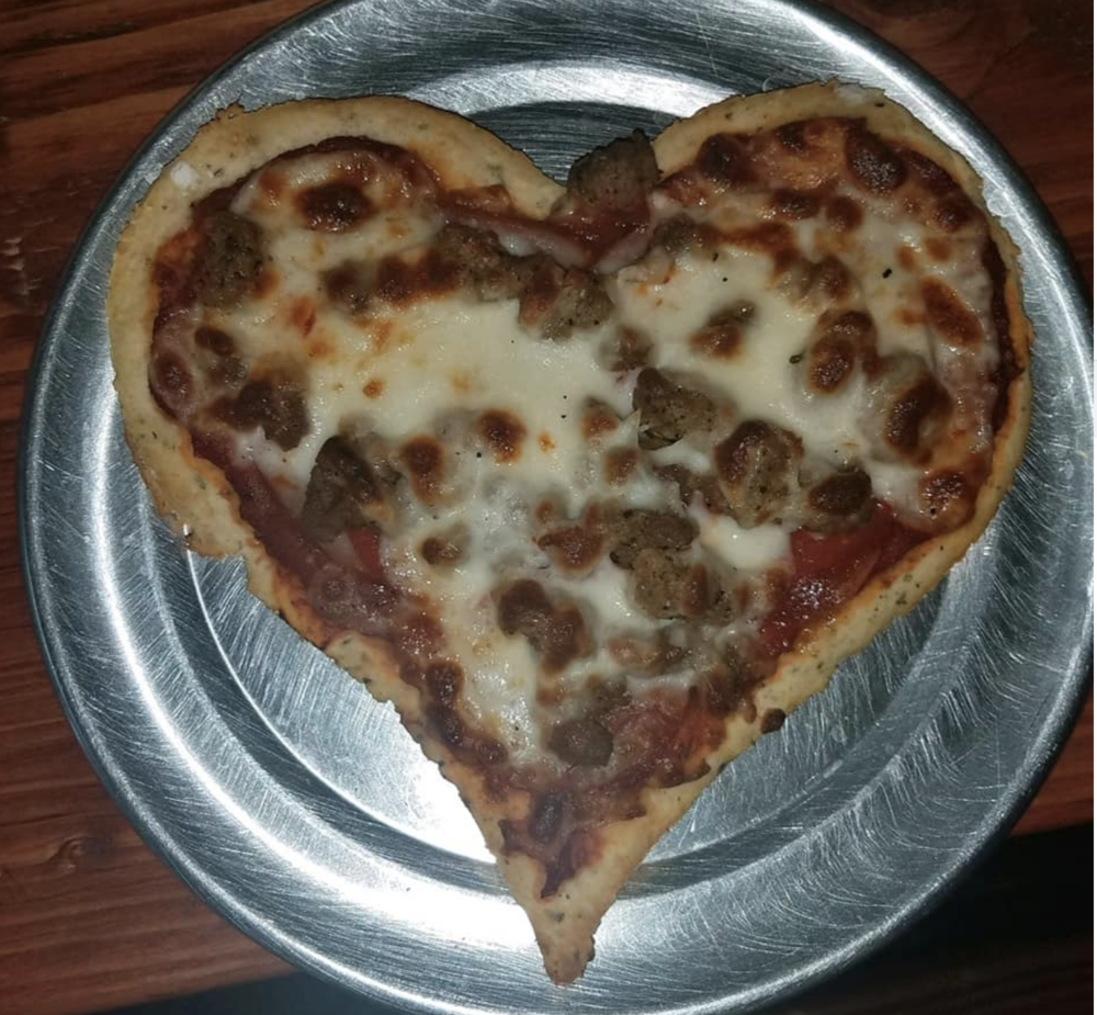 Heart-shaped pizza from Wood'y's Brick Oven Pizza