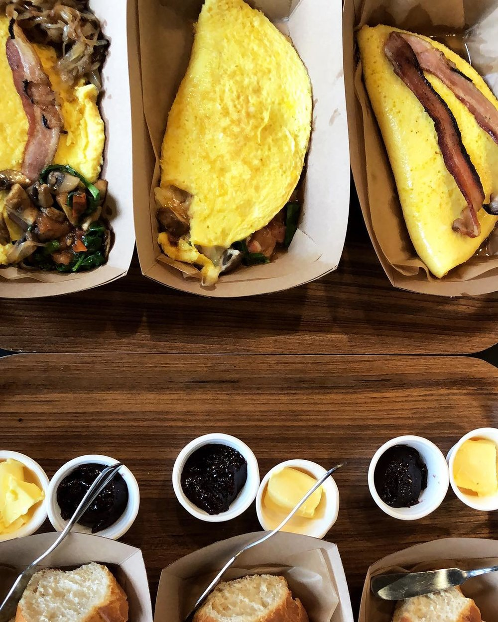 Organic, pasture-raised egg omelettes and rustic bread