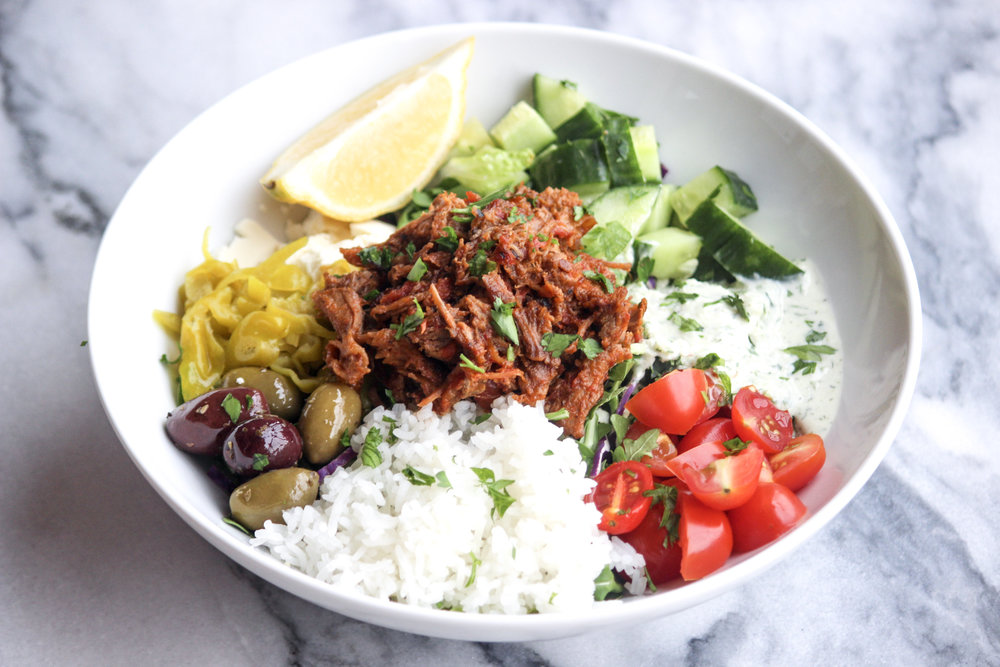 Greek Braised Pork Bowls | All the Healthy Things