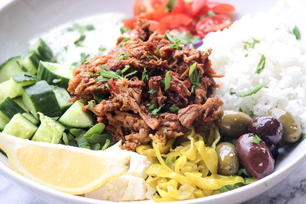 Greek Braised Pork Bowls | All the Healthy Things