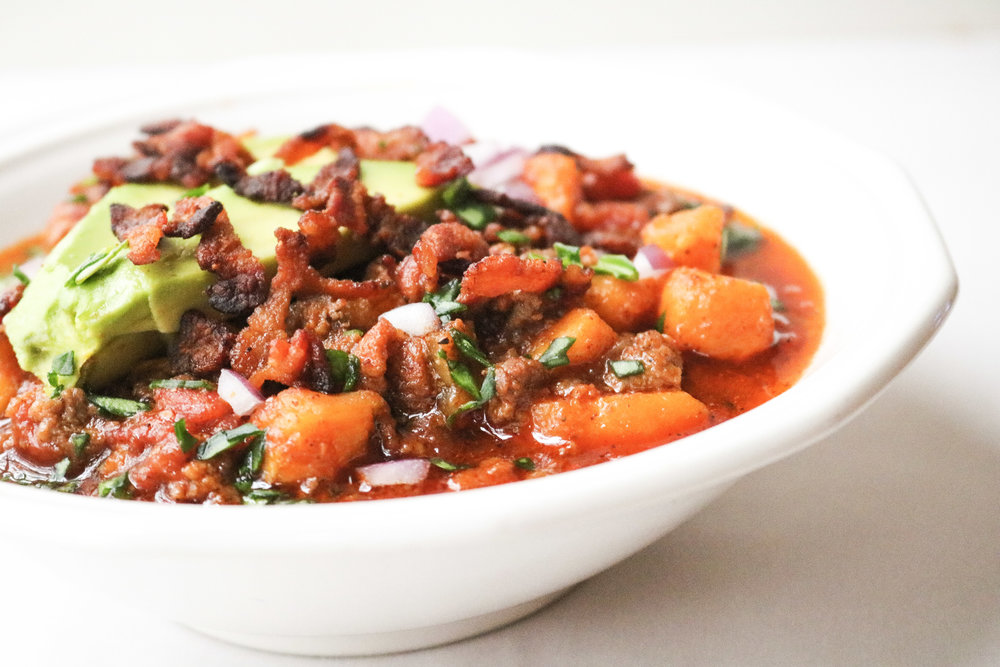 Paleo Bacon Sweet Potato Chili