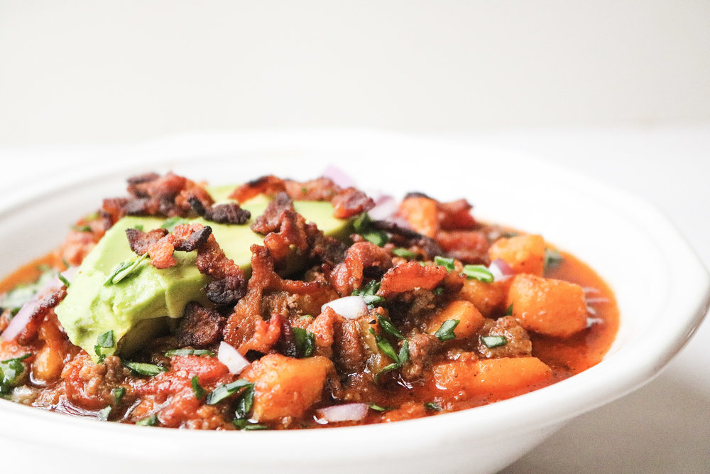 Paleo Bacon Sweet Potato Chili