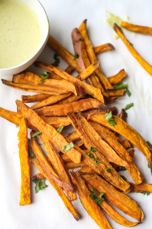 Sweet Potato Fries with Lemon Herb Tahini Dipping Sauce