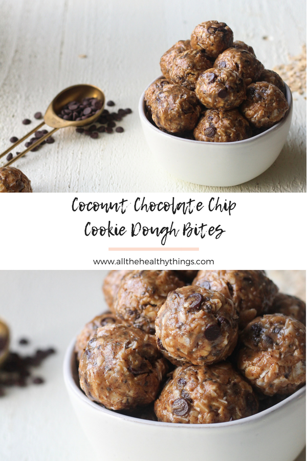 These Coconut Chocolate Chip Cookie Dough Bites are so easy and the perfect treat or after school snack! They're made with simple ingredients like almond butter and gluten-free oats and sweetened with your choice of honey or maple syrup!