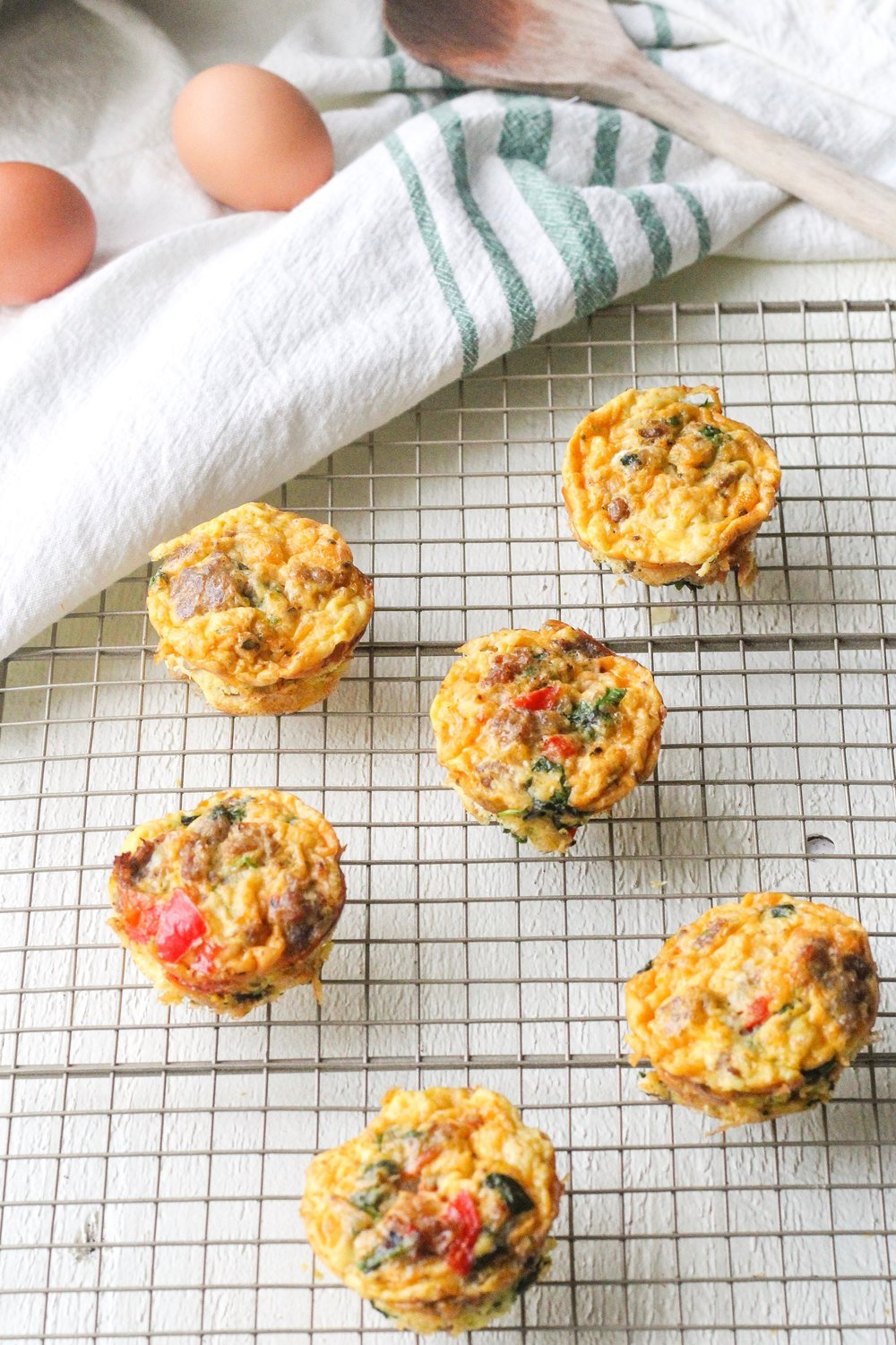 Easy Spinach + Sausage Egg Muffins
