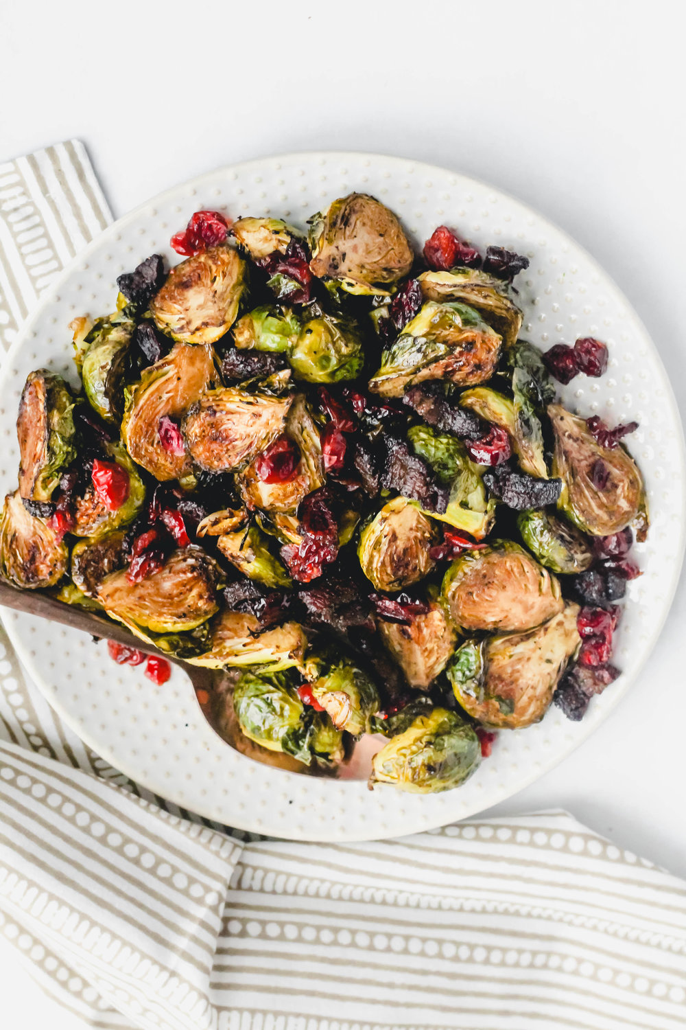 Roasted Brussel Sprouts with Balsamic, Bacon, and Cranberries