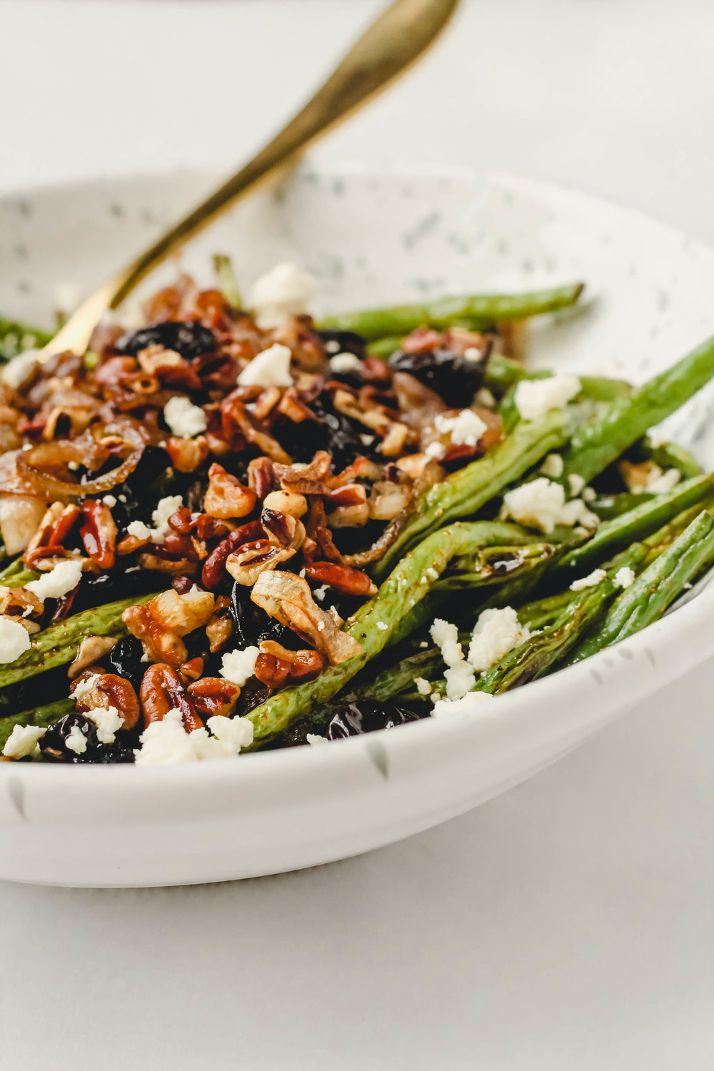 Roasted Green Beans with Crispy Shallots and Feta