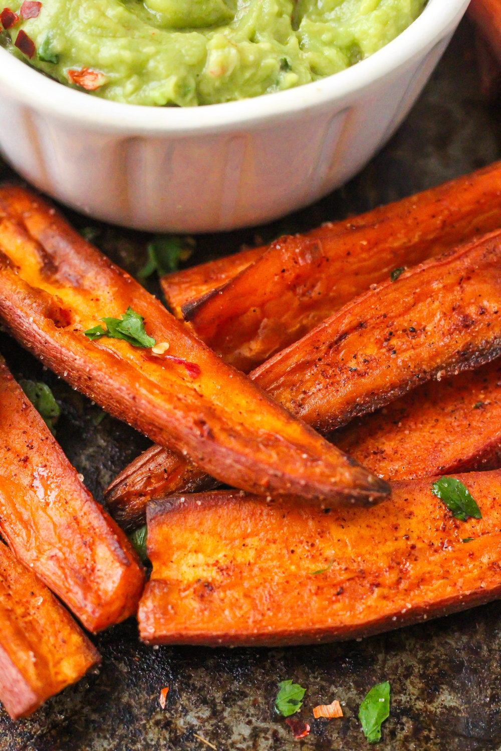 Smoky Roasted Sweet Potato Wedges and Guacamole