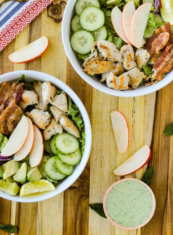 Chicken, Bacon, Avocado Chopped Salad with Lemon Herb Tahini Dressing
