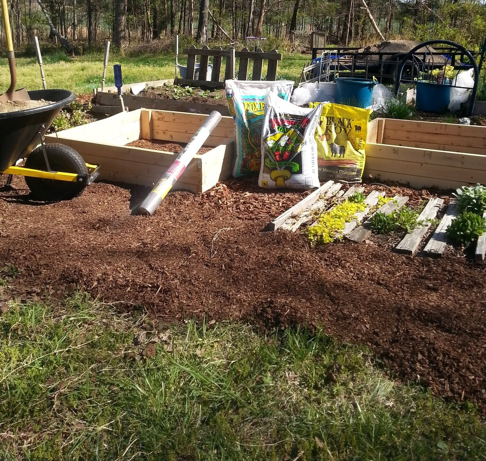 The fun part of a new raised bed is filling it!