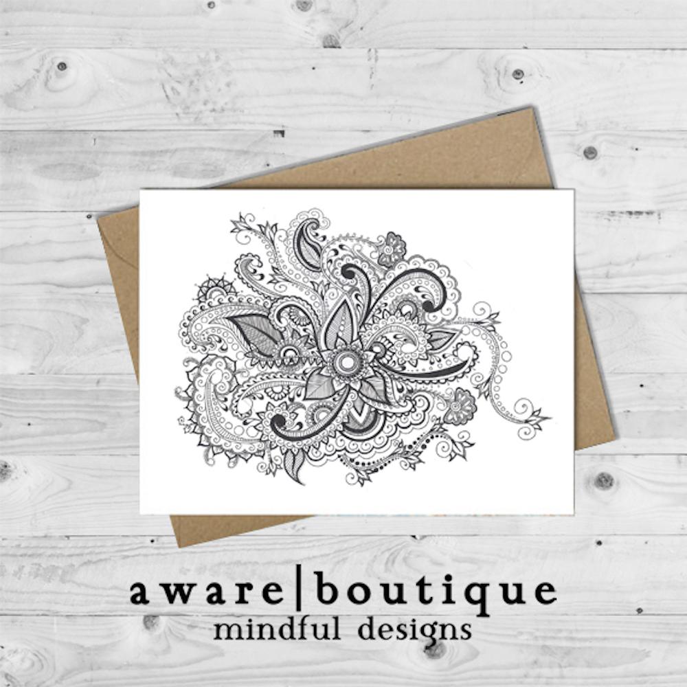 Henna Mandala Hand Drawn Note Card Aware Boutique
