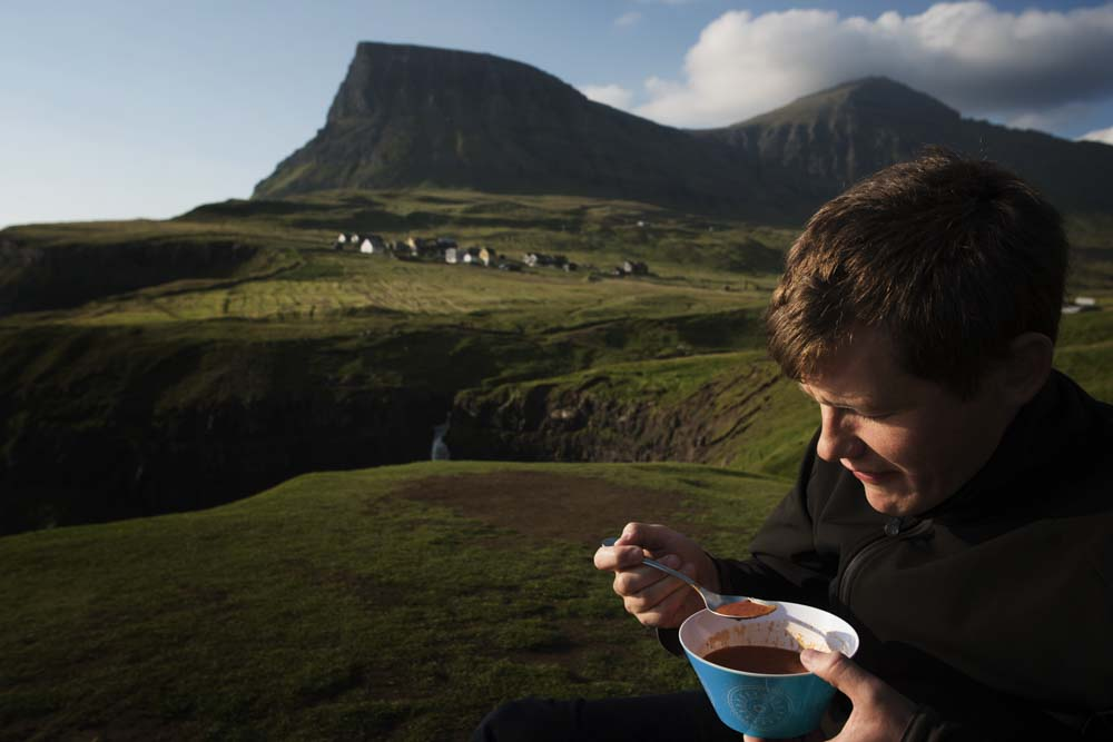 Mark having dinner at Gasadalur, Vagar, Faroe Islands