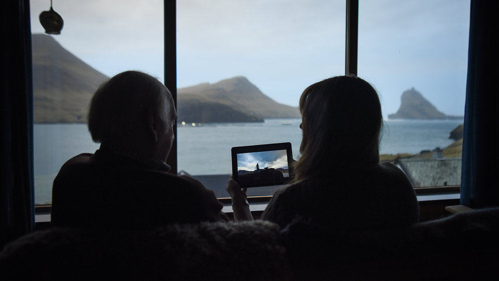 Still image from Faroetale. Thea and Òlavur in mid conversation.  Bøur, Faroe Islands. Photo by Rógvi Rasmussen.