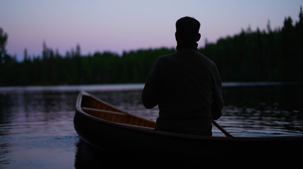 Paddling home in twilight