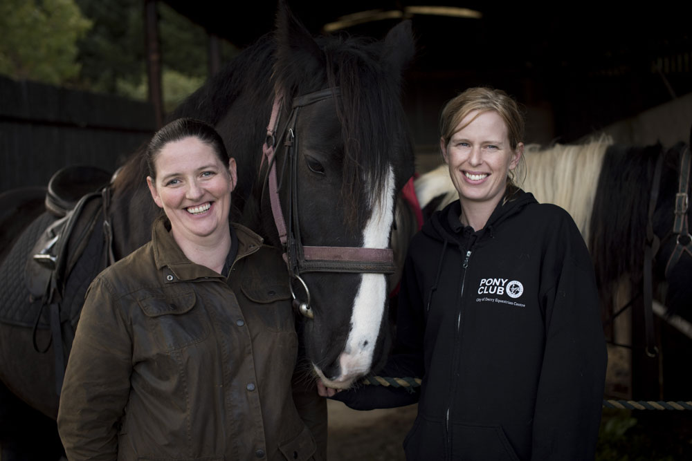 Pauline and Deborah of City of Derry Equestrian Centre, with Mark's horse for the morning,  MacGinley.