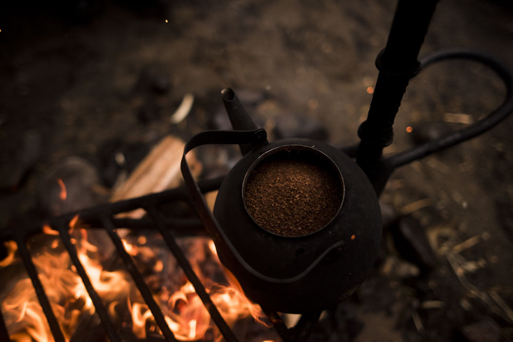 Old fashioned coffee prepared on a fire.