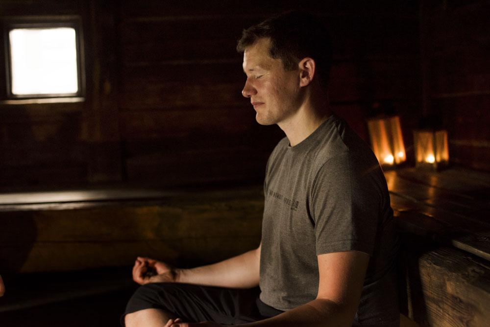 Mark enjoying Sauna yoga in Iisakki-village