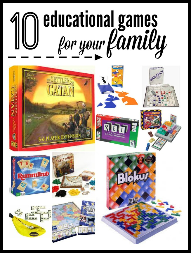 This post has some fabulous ideas for family game night - fun & educational!