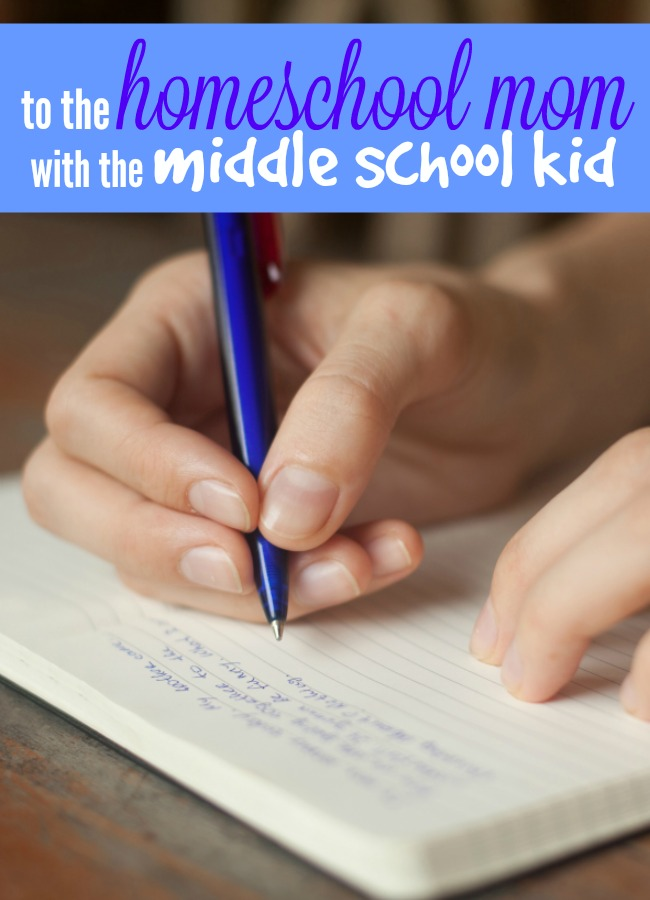homeschool mom with middle school kid writing a letter