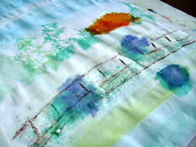 impressionist art projects for kids monet japanese bridge step four