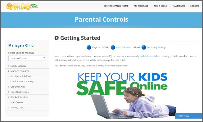 kids email parent controls