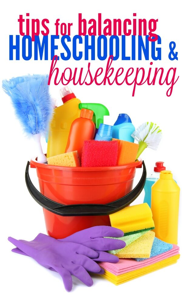 Managing the housekeeping tasks while homeschooling can be difficult. Here are my tips for balancing homeschooling and housekeeping - while getting the whole family involved!