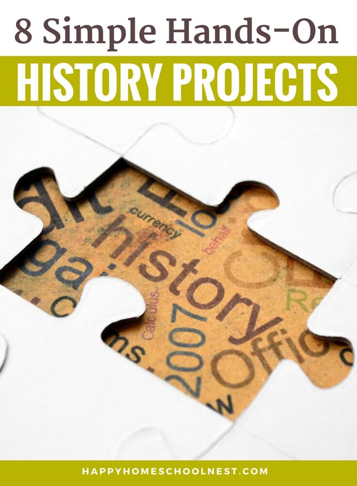 History lessons can be dry and boring if you rely completely on a dry and boring textbook. But there is a better way! It's so easy to make history come alive with the right books and resources. One of the best ways to make your history lessons fun and interesting are with well-planned hands-on history projects. And, no matter the time period you're studying, there are some activity ideas you can easily include. Here are 8 ways you can make history a little more interesting with some hands-on, creative history project ideas.