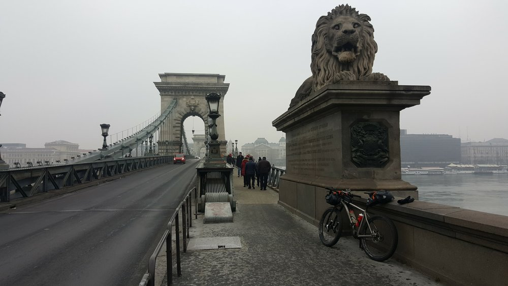 Széchenyi Chain Bridge, Budapest 2. January 2017 - the starting point of my bikepacking trip to Vienna