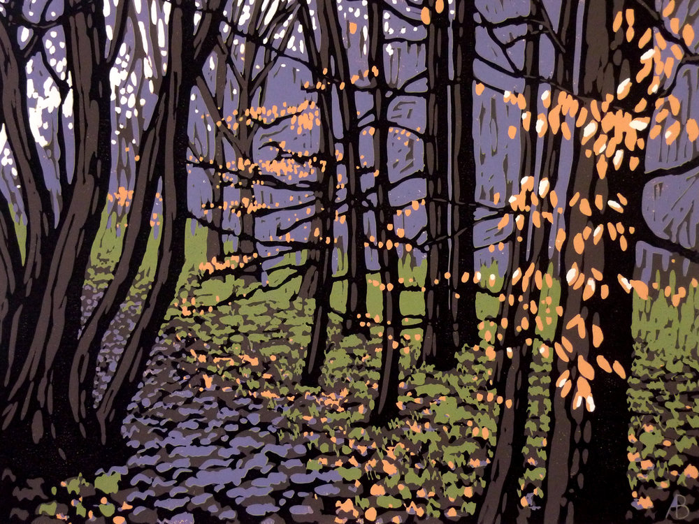 Beech Leaves in Winter | 54cm x 44cm Reduction Linocut