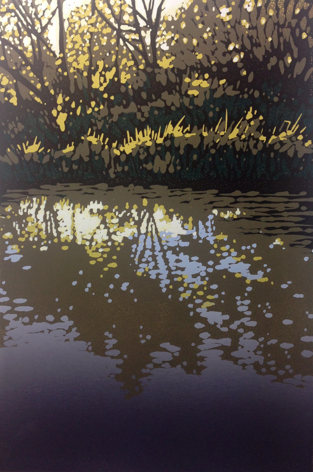 Oxford Canal at Kirtlington | 44cm X 34cm Reduction Linocut