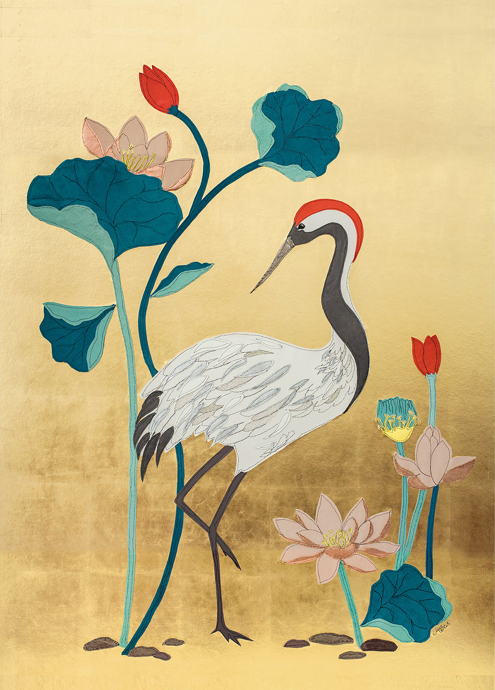Crane & Lotus Flowers Detail | 90cm x 150cm Wallpaper/ Embroidery on Gold Leaf Panel