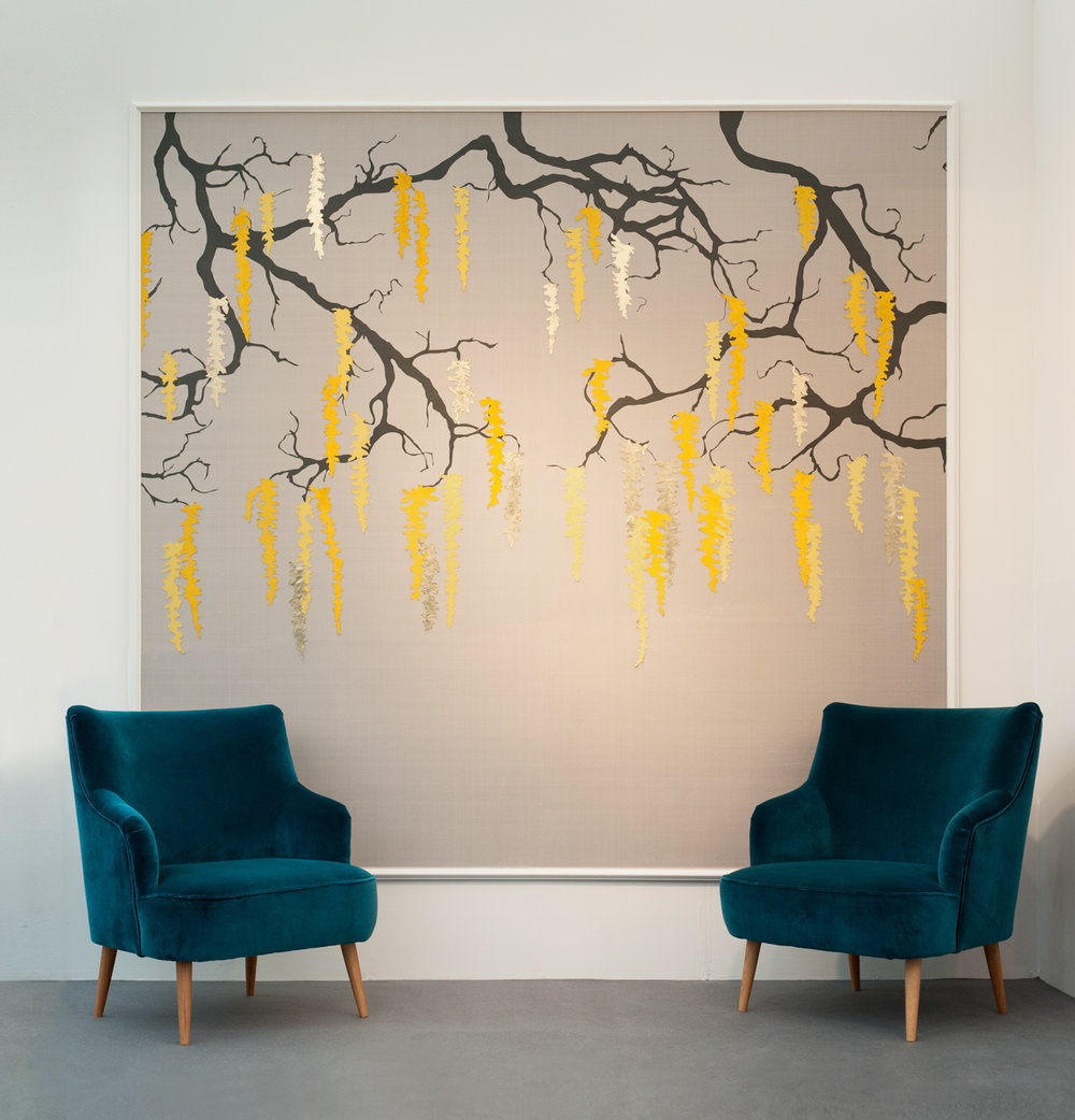 Laburnum | 200cm x 200cm Screen Printed Silk, Leather and Machine Embroidery