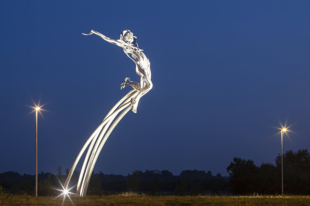 Leaping | 8.5m Public Commission for Milton Keynes | Stainless Steel