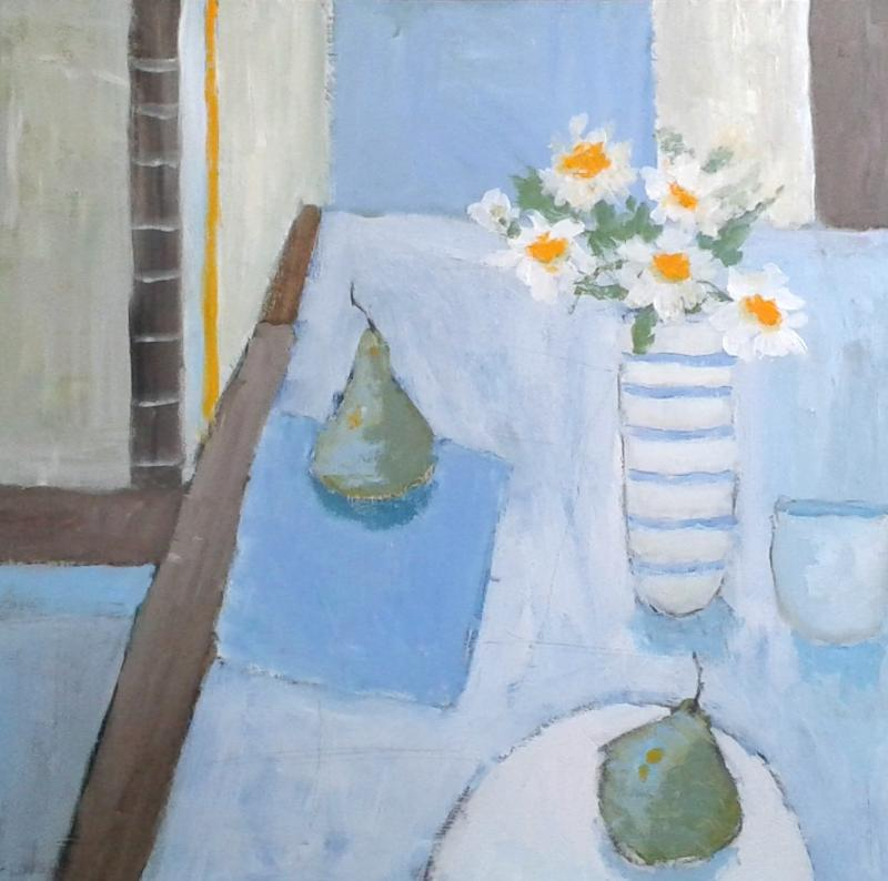 Daisies and Pears | 64cm x 64 cm Oil on Canvas