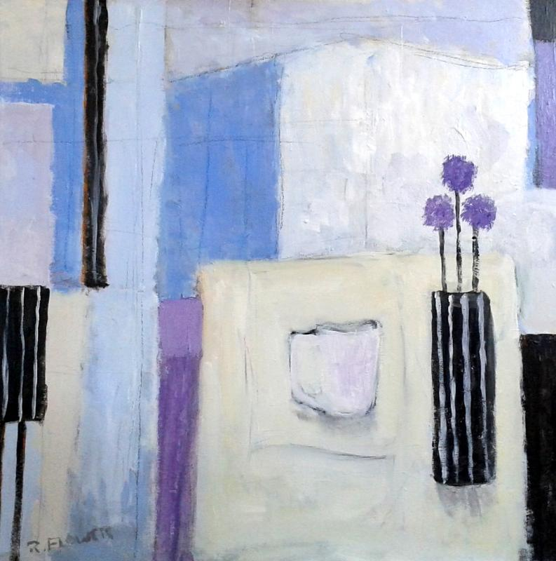 Three Purple Alliums | 64cm x 64cm Oil on Canvas