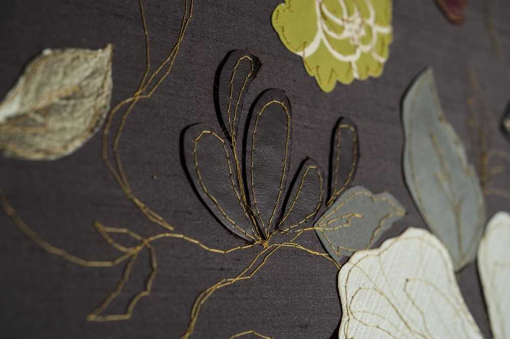 Dutch Master Detail | 120cm x 150cm Vintage Wall Papers, Silks, Leather and Machine Embroidery