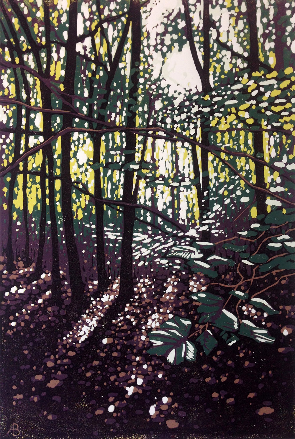 Summer Woodland Glow | 40cm x 60cm Reduction Linocut