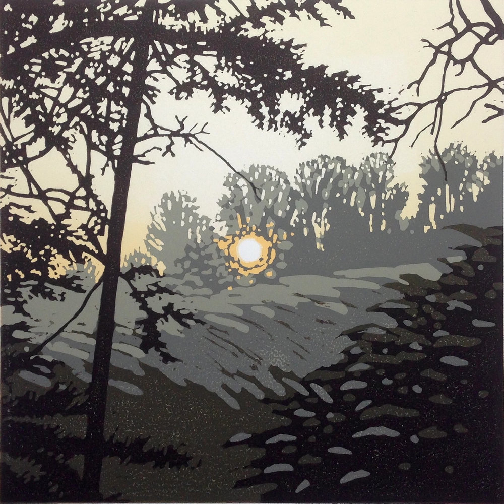 Last Light Waddesdon | 20cm x 20cm Reduction Linocut
